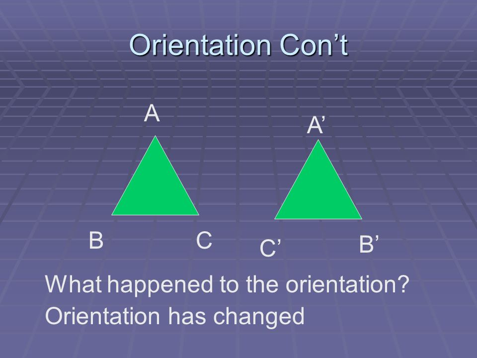 Orientation Con't A A' B C B' C' What happened to the orientation