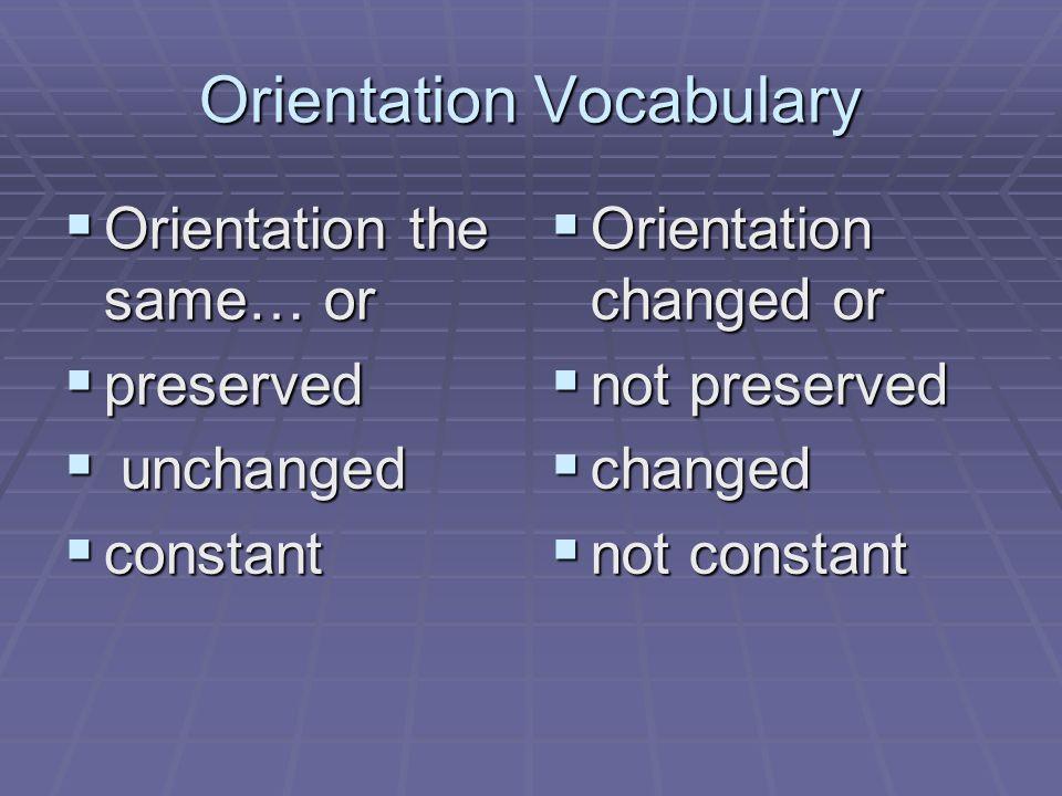 Orientation Vocabulary