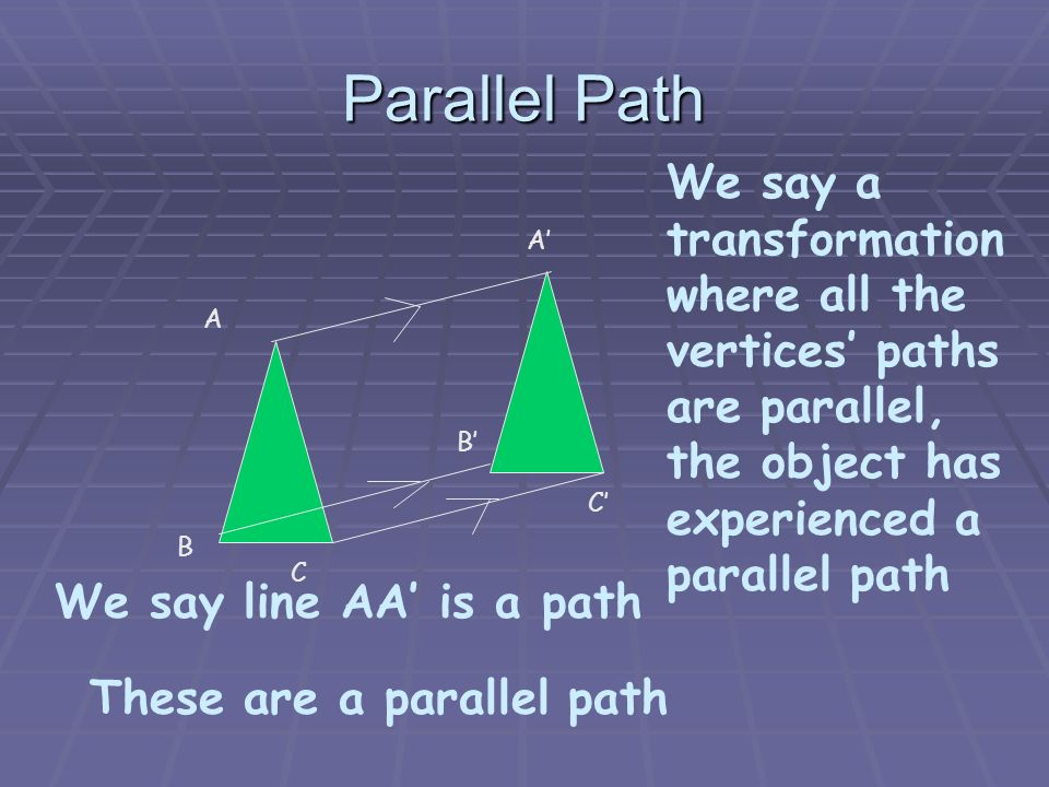 Parallel Path We say a transformation where all the vertices' paths are parallel, the object has experienced a parallel path.