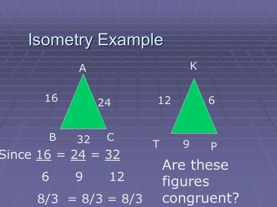 Isometry Example Are these figures congruent Since 16 = 24 = 32