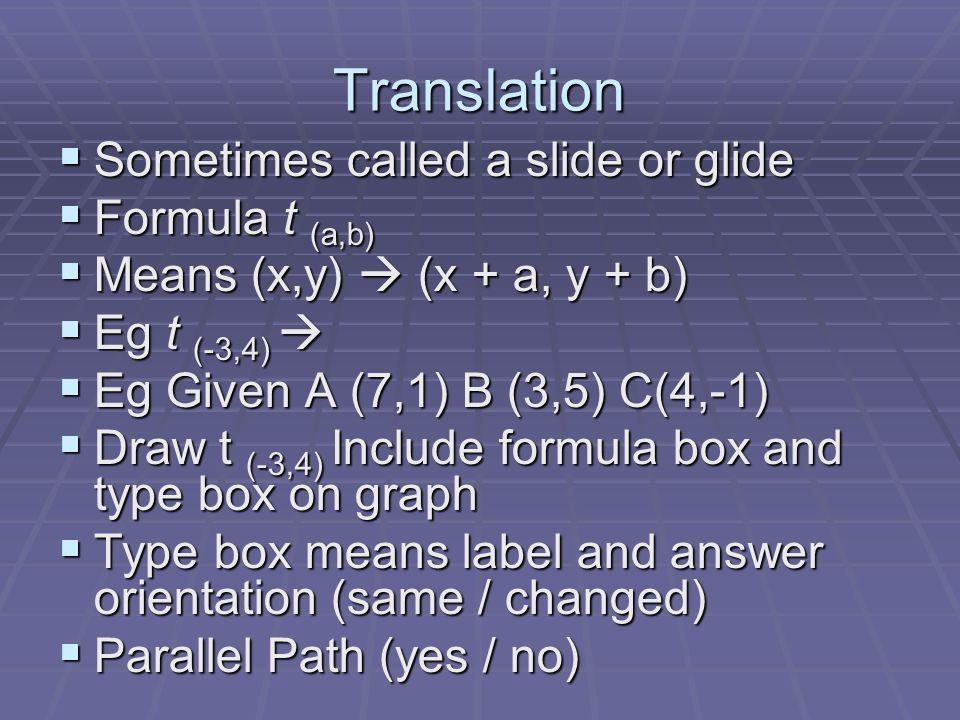 Translation Sometimes called a slide or glide Formula t (a,b)