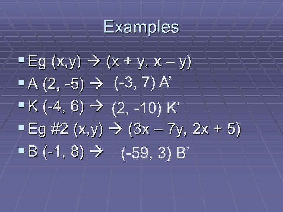 Examples Eg (x,y)  (x + y, x – y) A (2, -5)  K (-4, 6)  (-3, 7) A'