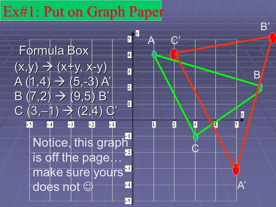 Ex#1: Put on Graph Paper Formula Box (x,y)  (x+y, x-y)