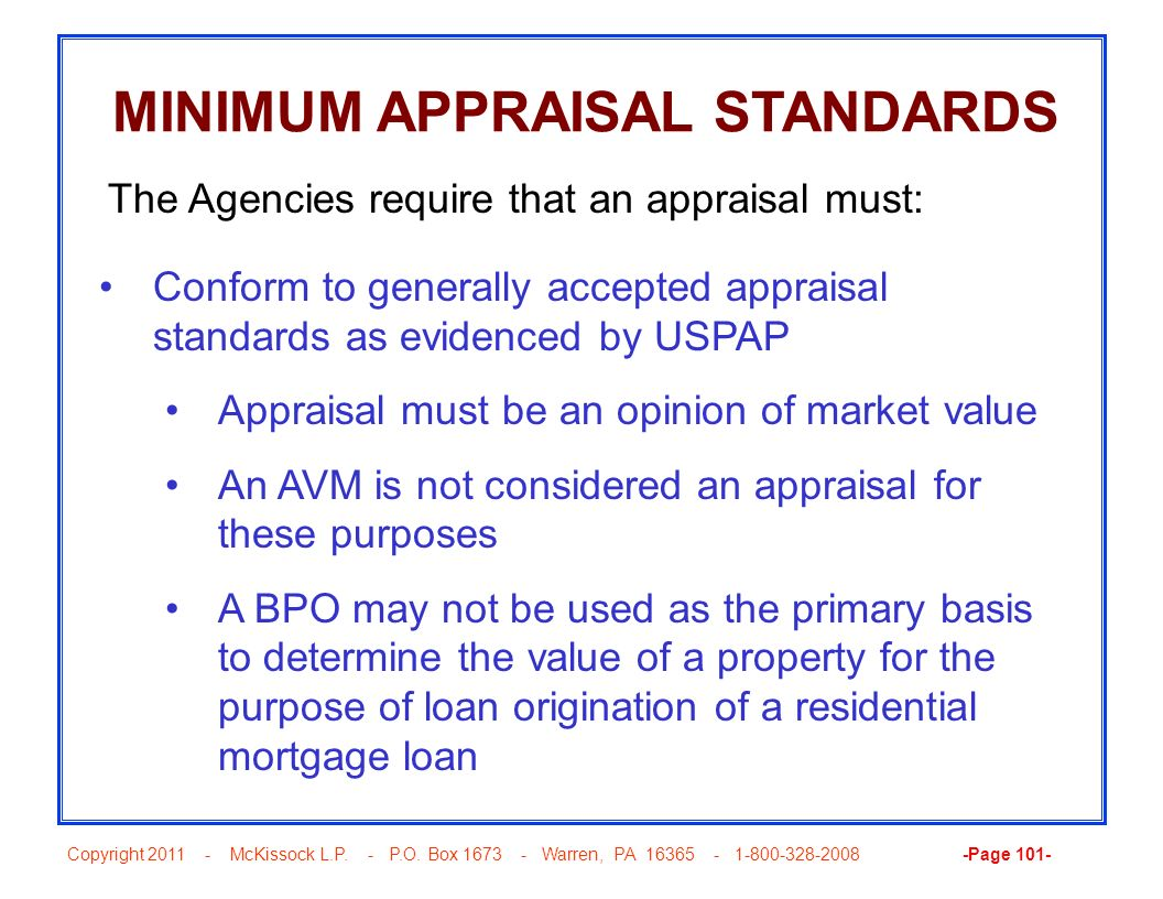 MINIMUM APPRAISAL STANDARDS
