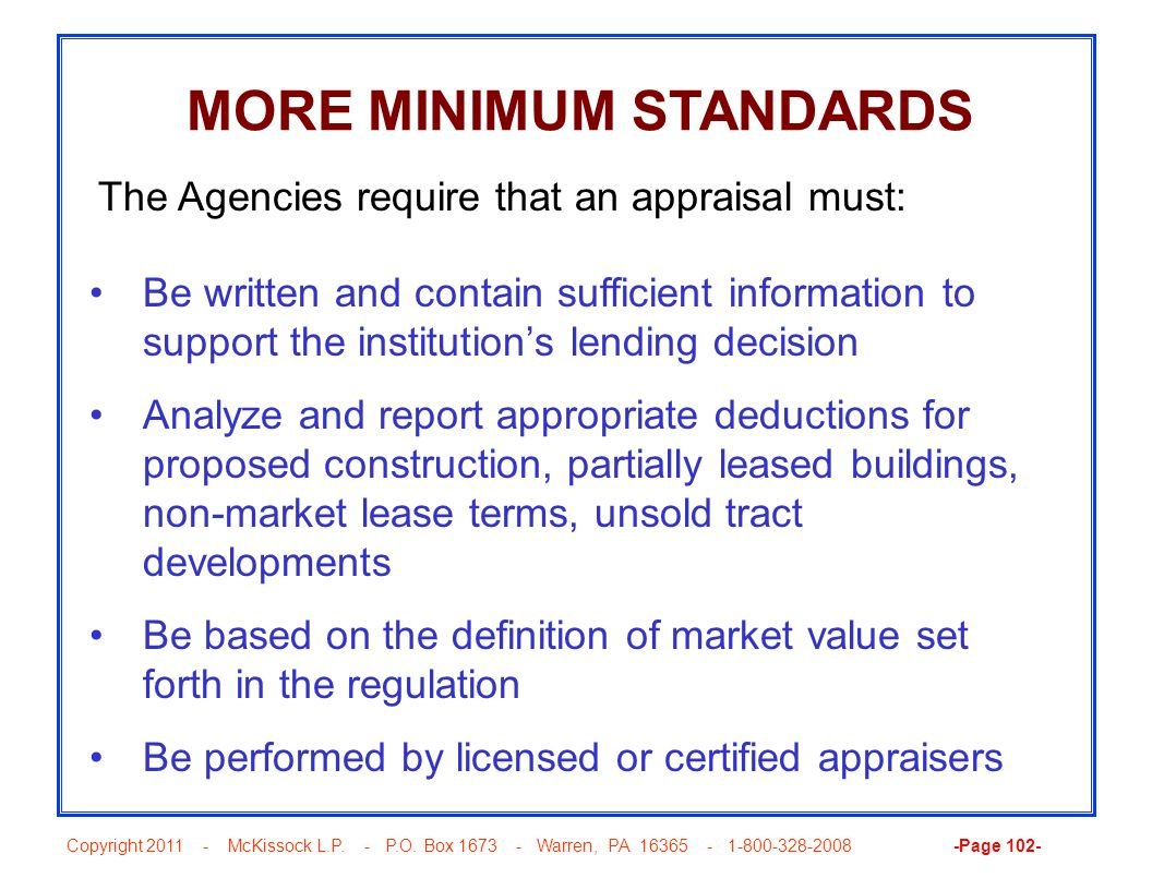 MORE MINIMUM STANDARDS