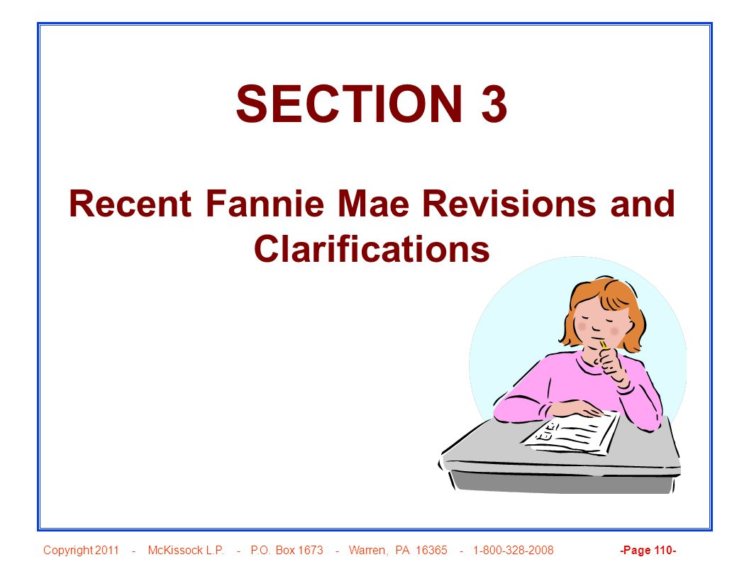 Recent Fannie Mae Revisions and Clarifications