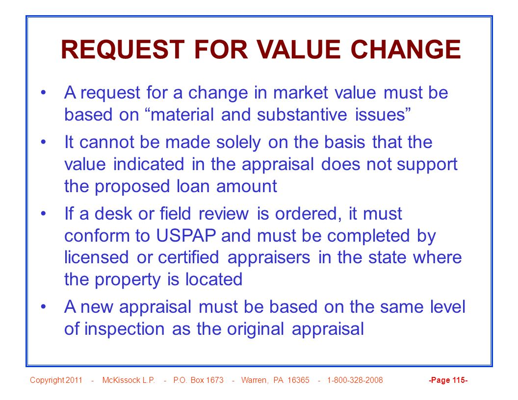 REQUEST FOR VALUE CHANGE
