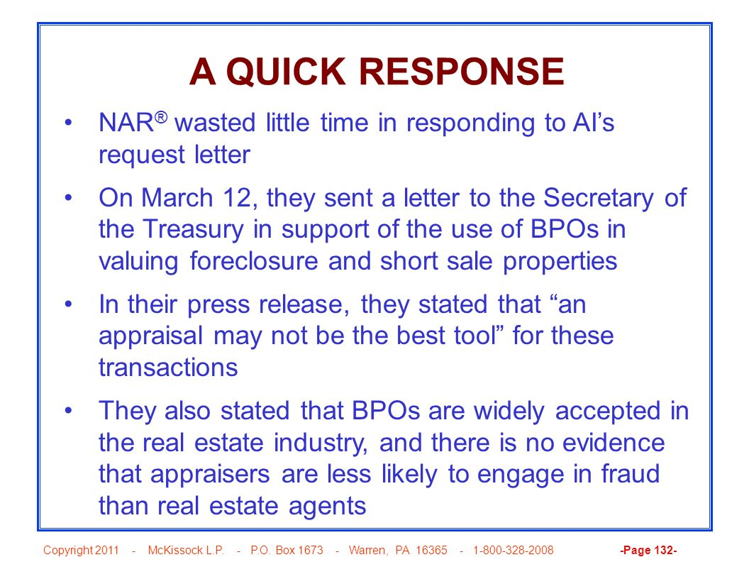 A QUICK RESPONSE NAR® wasted little time in responding to AI's request letter.