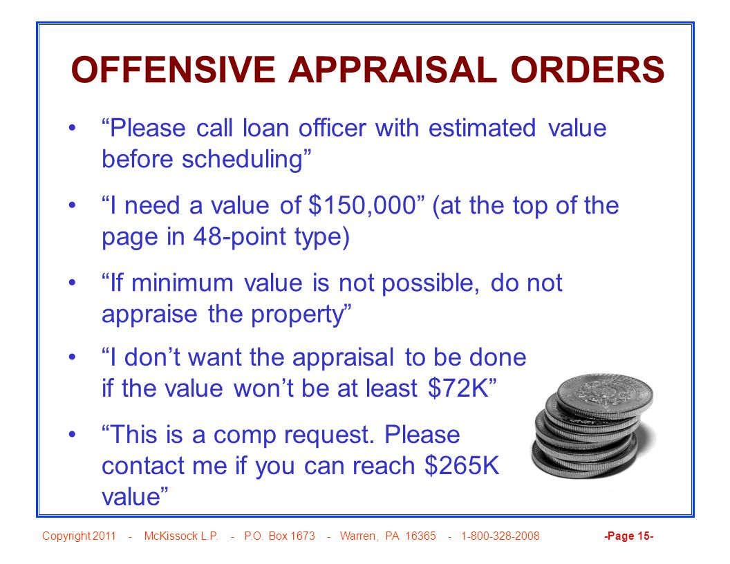OFFENSIVE APPRAISAL ORDERS