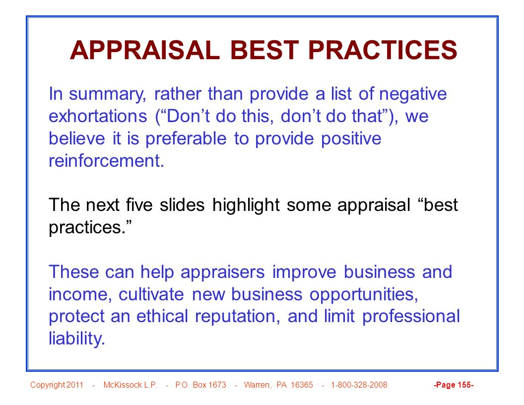 APPRAISAL BEST PRACTICES