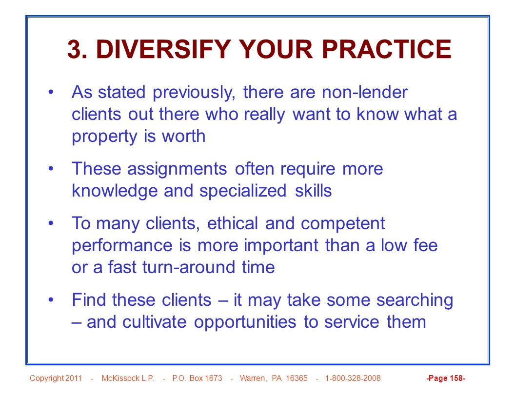 3. DIVERSIFY YOUR PRACTICE
