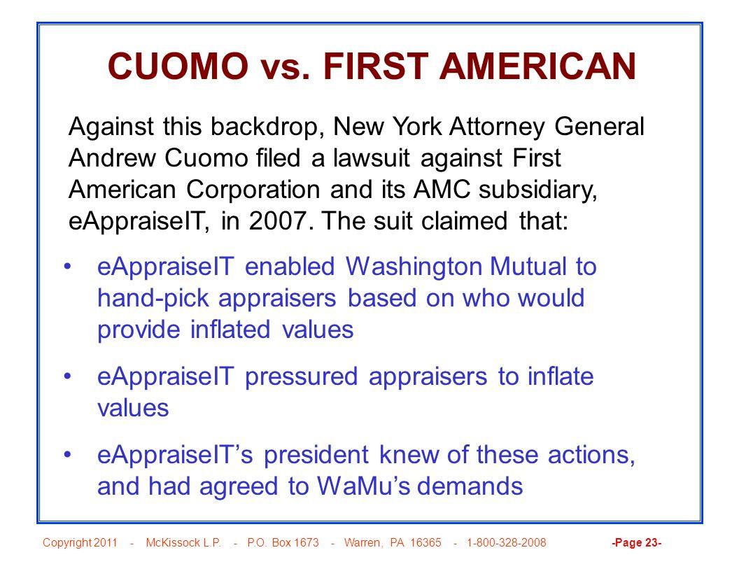 CUOMO vs. FIRST AMERICAN