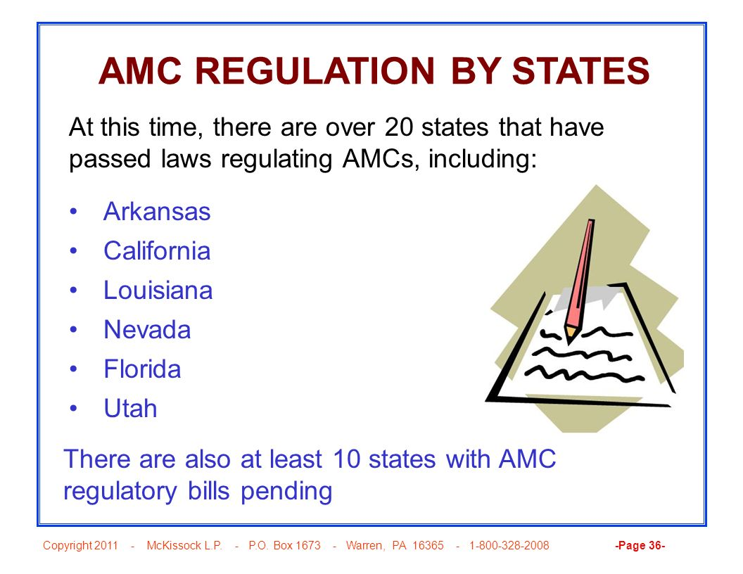 AMC REGULATION BY STATES
