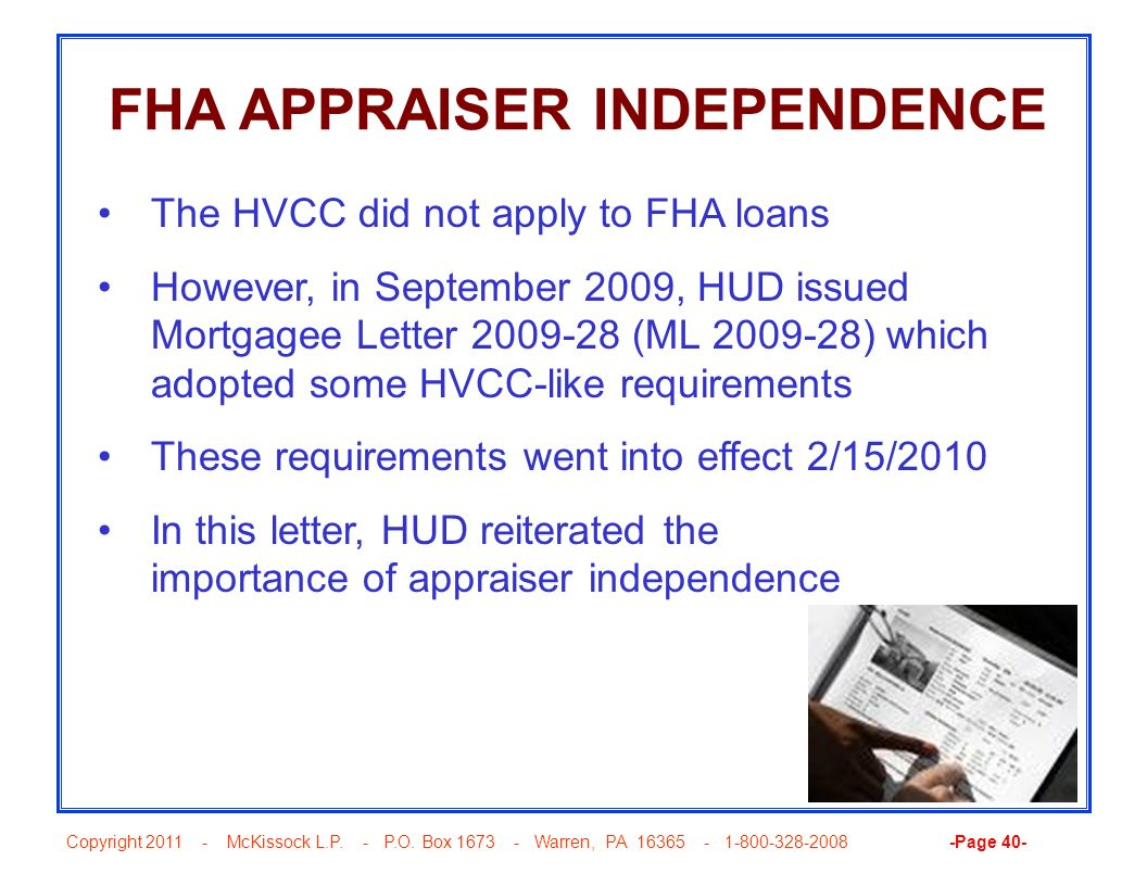 FHA APPRAISER INDEPENDENCE