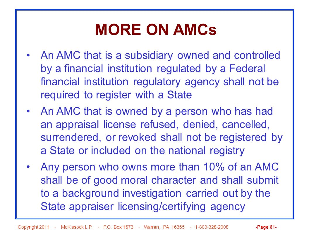 MORE ON AMCs