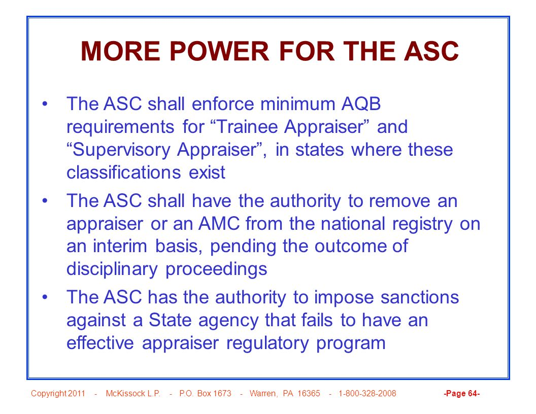 MORE POWER FOR THE ASC