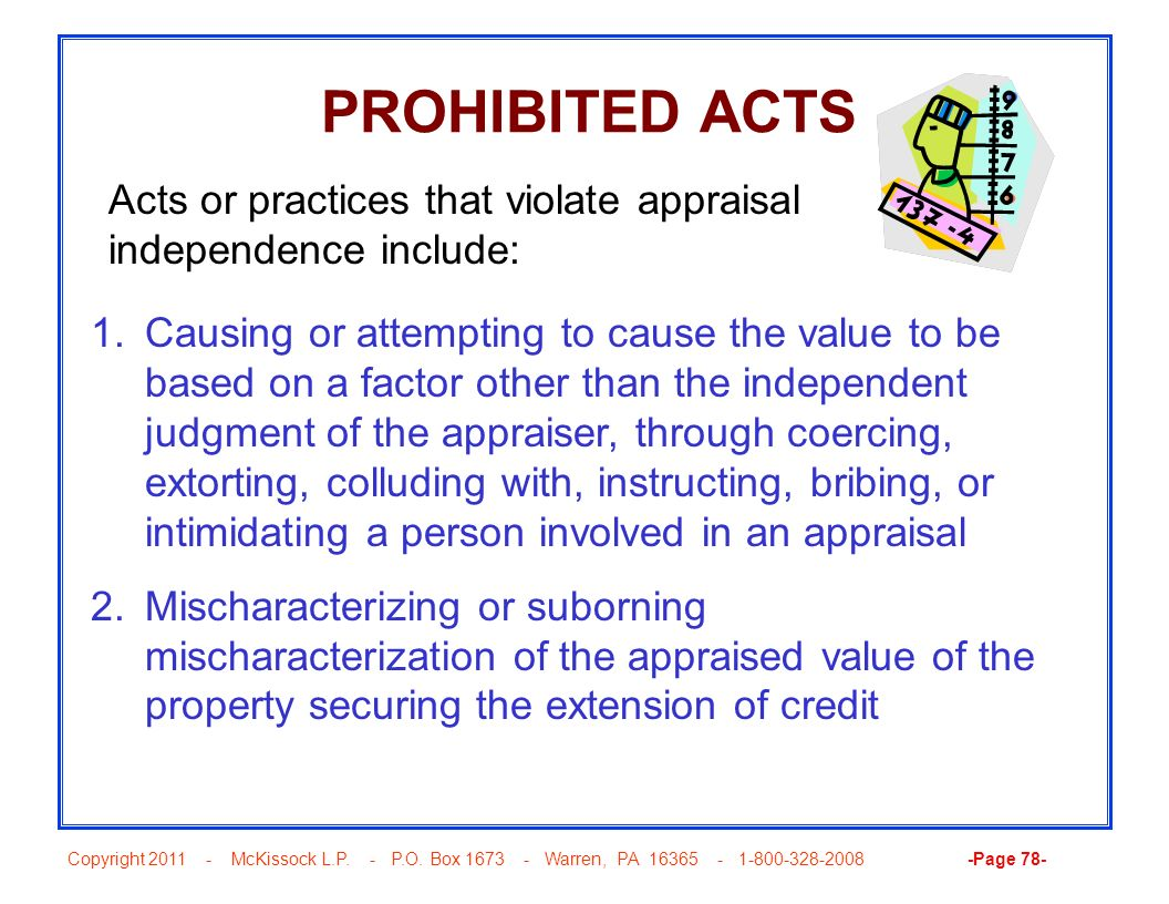 PROHIBITED ACTS Acts or practices that violate appraisal independence include: