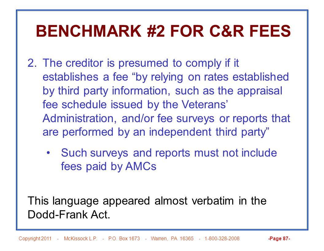 BENCHMARK #2 FOR C&R FEES