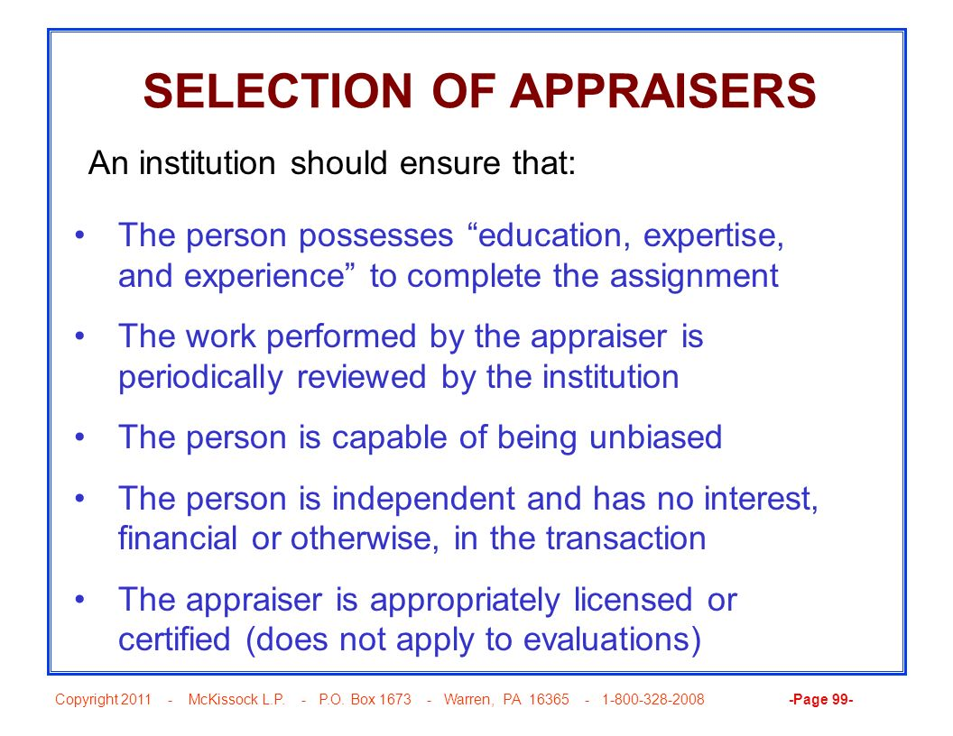 SELECTION OF APPRAISERS