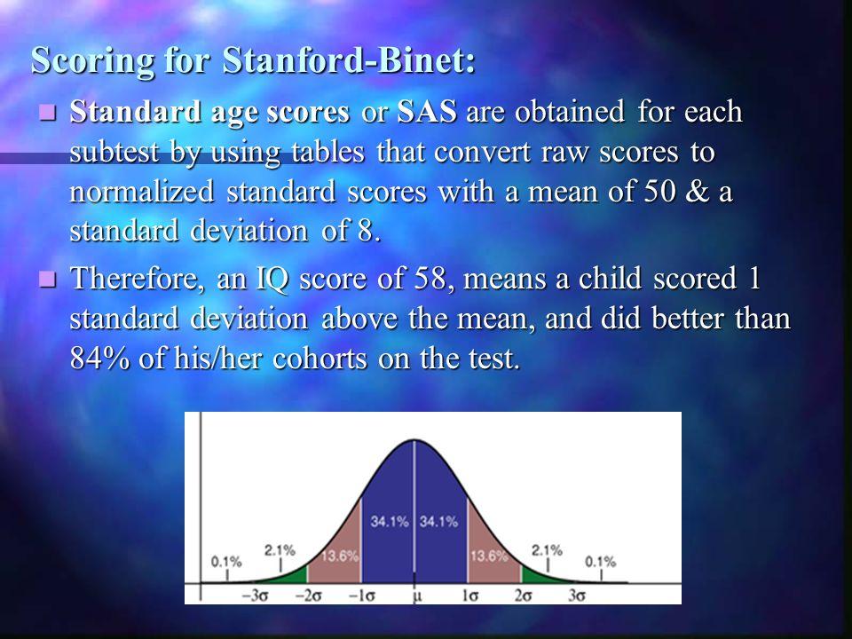 Scoring for Stanford-Binet: