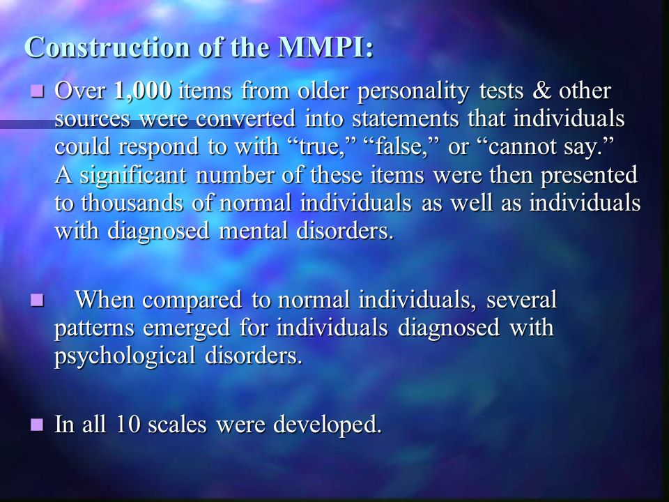 Construction of the MMPI: