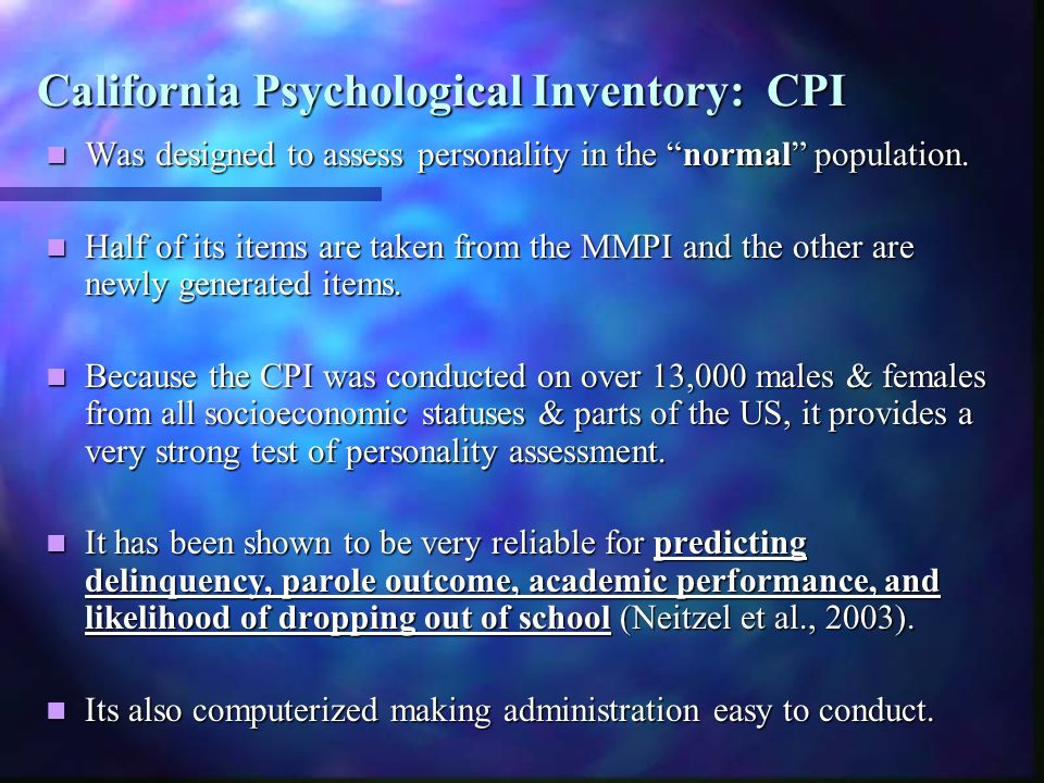 California Psychological Inventory: CPI