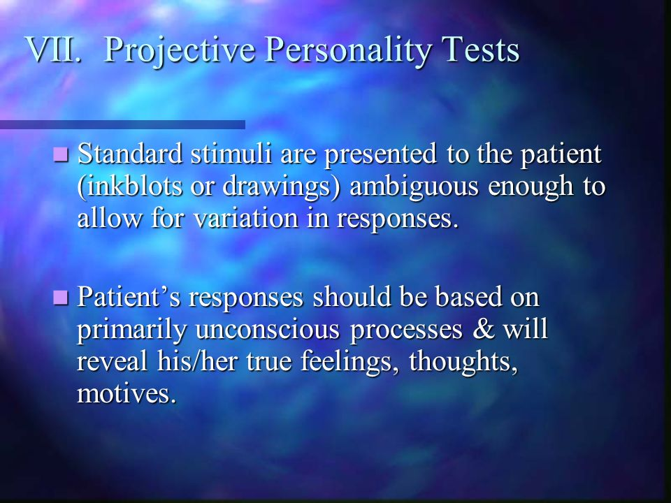 VII. Projective Personality Tests