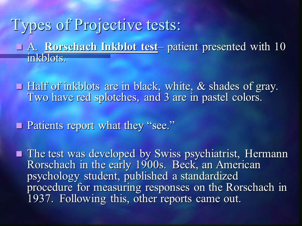 Types of Projective tests: