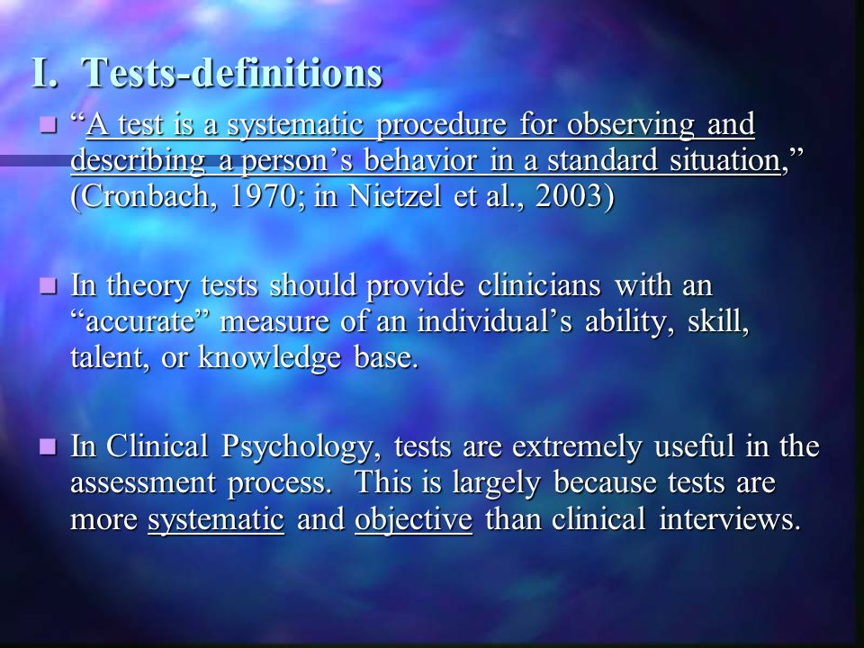 I. Tests-definitions