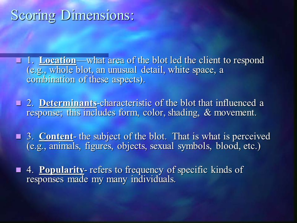 Scoring Dimensions: