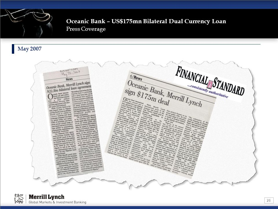 Oceanic Bank – US$175mn Bilateral Dual Currency Loan