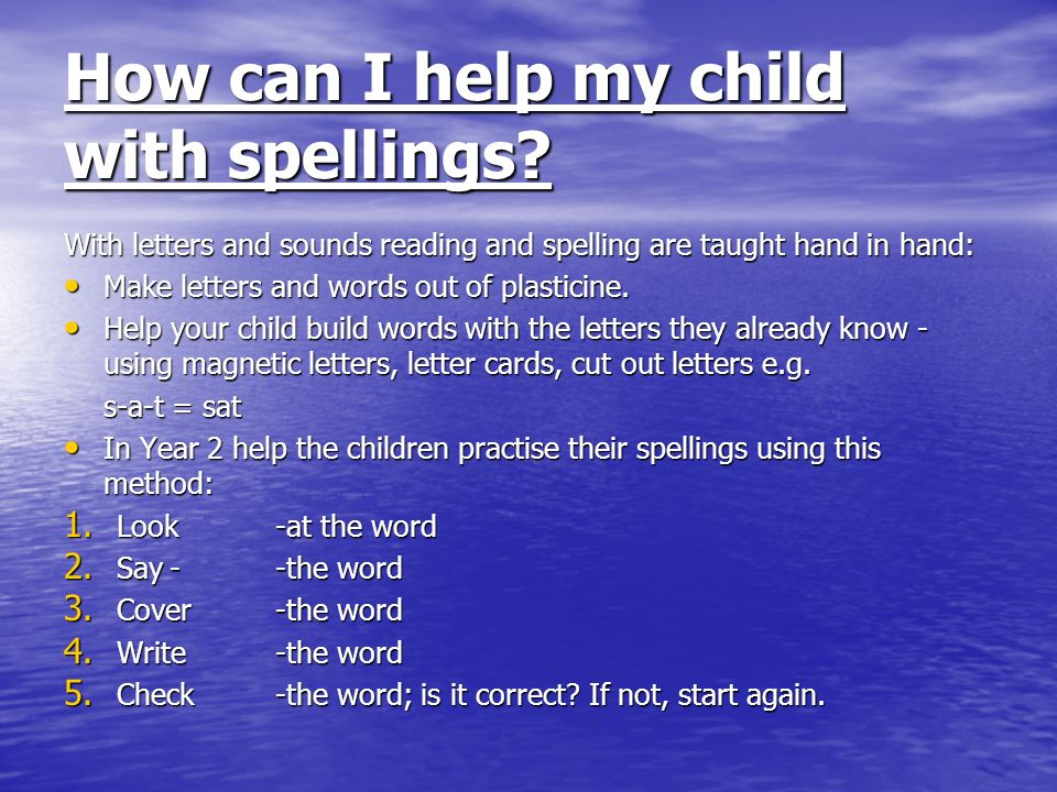How can I help my child with spellings