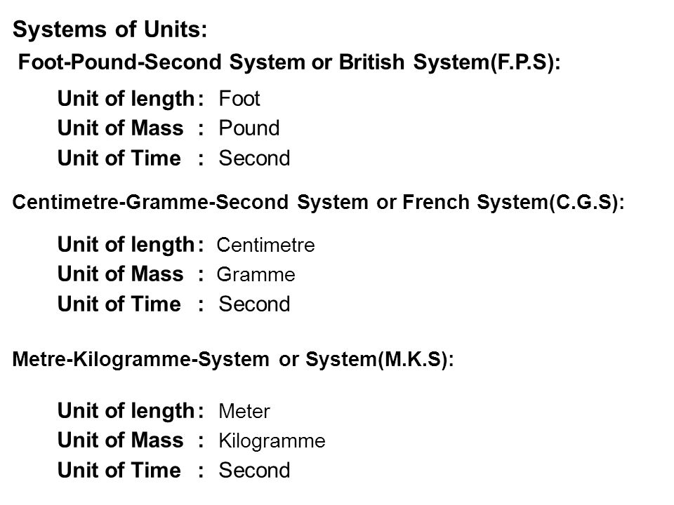 Systems of Units: Foot-Pound-Second System or British System(F.P.S):