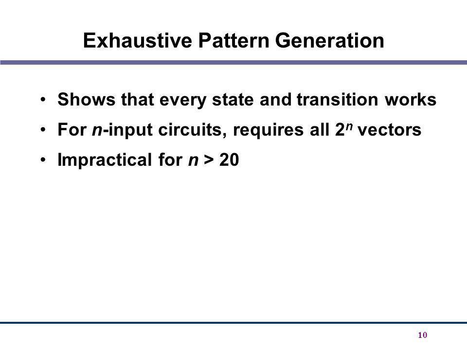 Exhaustive Pattern Generation