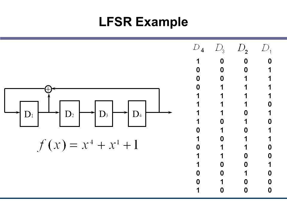 LFSR Example 1 0 0 0. 0 0 0 1. 0 0 1 1. 0 1 1 1. 1 1 1 1. 1 1 1 0. 1 1 0 1. 1 0 1 0. 0 1 0 1.