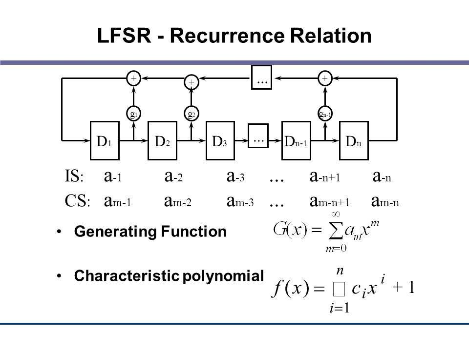 LFSR - Recurrence Relation