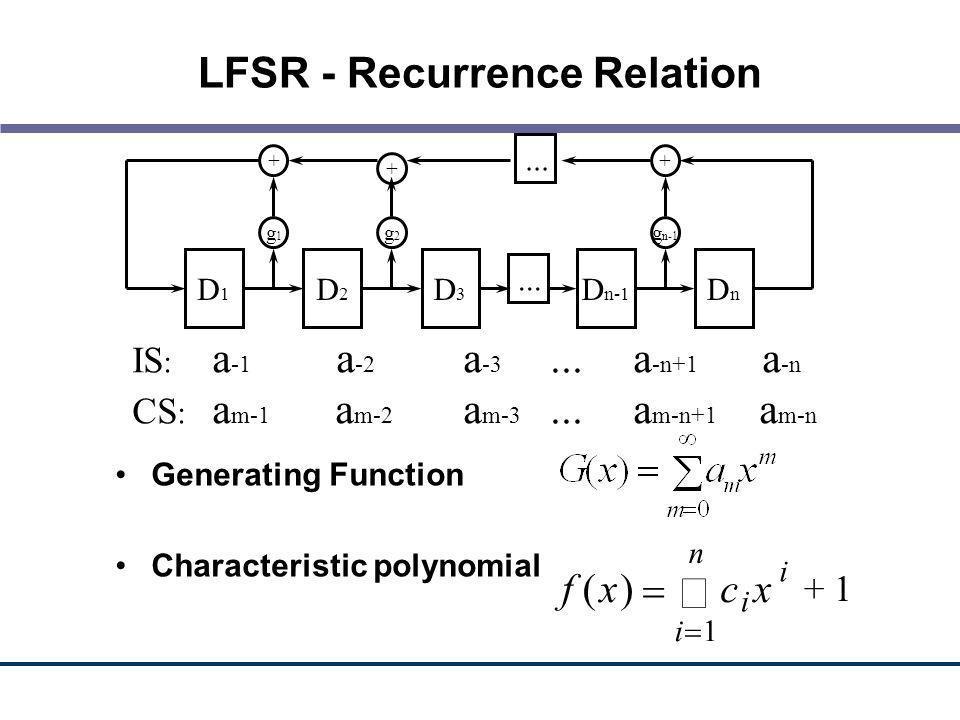 LFSR - Recurrence Relation