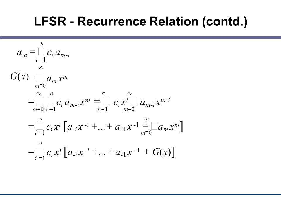 LFSR - Recurrence Relation (contd.)