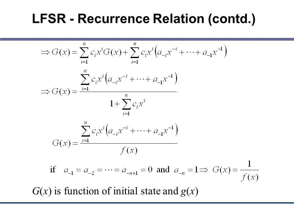 LFSR - Recurrence Relation (contd.)