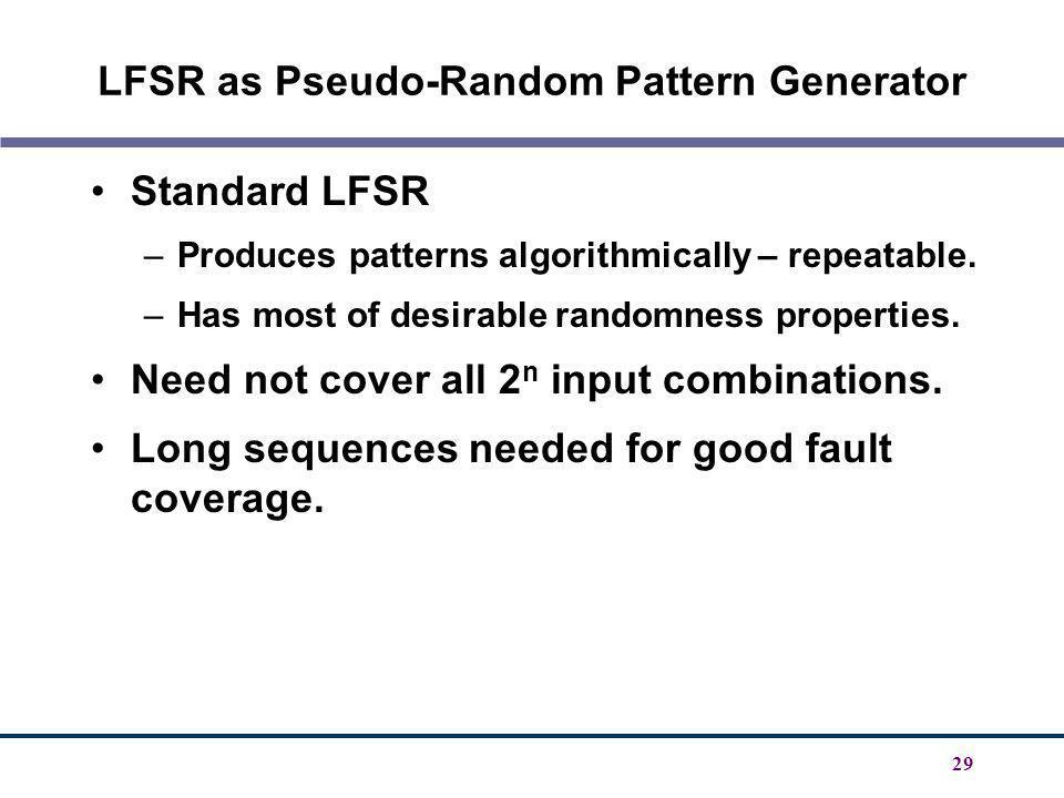 LFSR as Pseudo-Random Pattern Generator