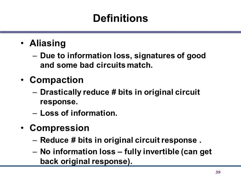 Definitions Aliasing Compaction Compression