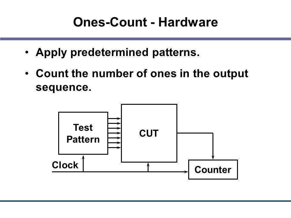 Ones-Count - Hardware Apply predetermined patterns.
