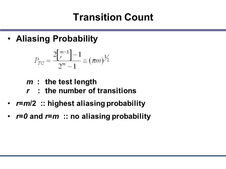 Transition Count Aliasing Probability