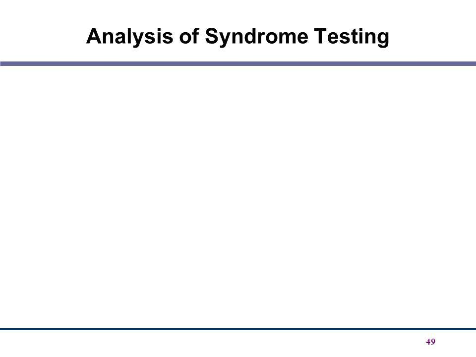 Analysis of Syndrome Testing
