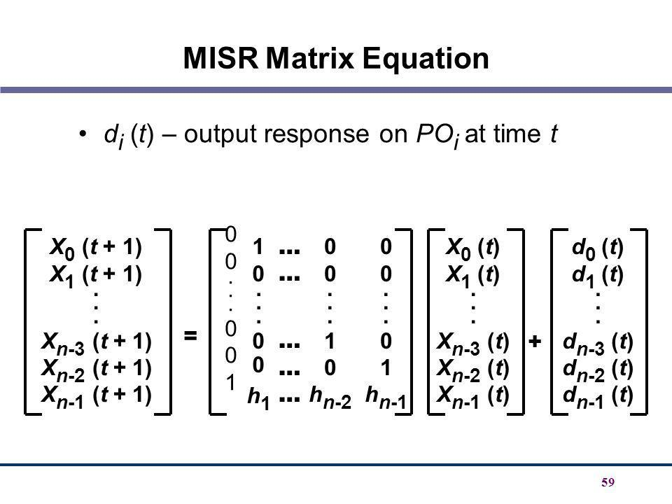 MISR Matrix Equation di (t) – output response on POi at time t . 1
