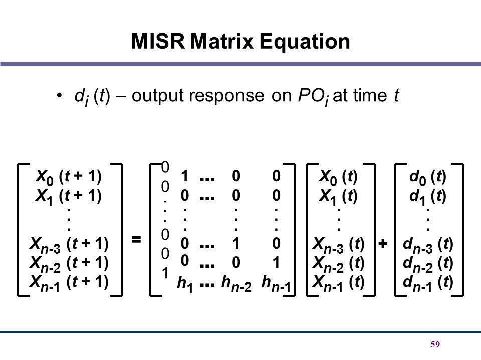 MISR Matrix Equation di (t) – output response on POi at time t . 1