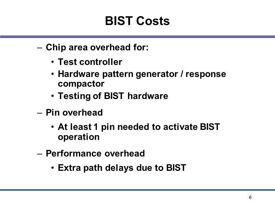 BIST Costs Chip area overhead for: Test controller