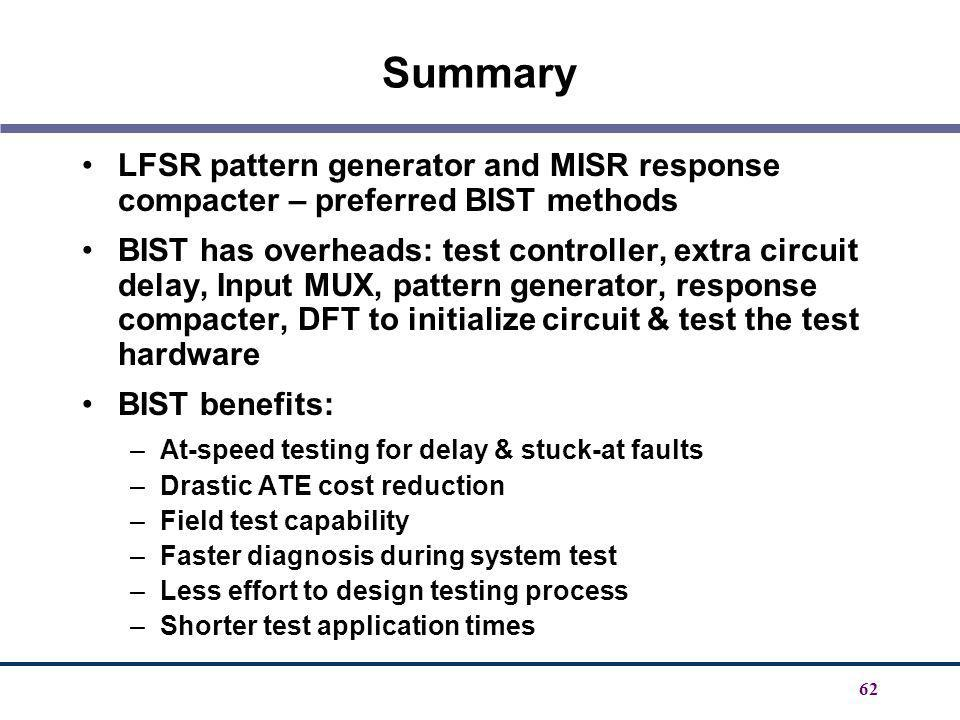 Summary LFSR pattern generator and MISR response compacter – preferred BIST methods.