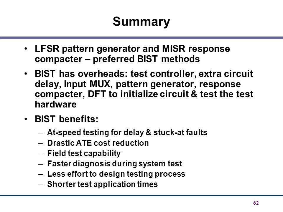 Summary LFSR pattern generator and MISR response compacter – preferred BIST methods.
