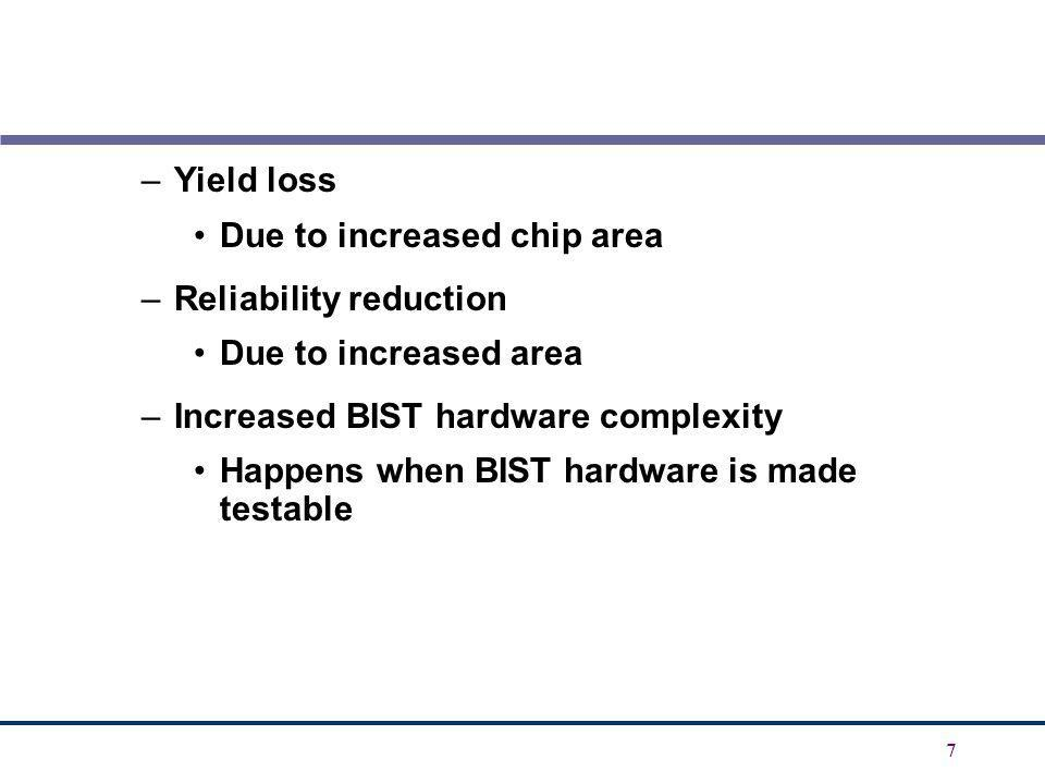 Yield loss Due to increased chip area. Reliability reduction. Due to increased area. Increased BIST hardware complexity.